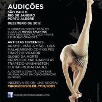 Audições para o Cirque du Soleil em dezembro no Brasil